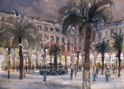 Barcelona Placa Reial. Watercolour on paper © Jonathan Bray