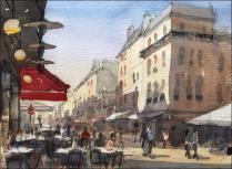 Rue Cler - Watercolour on paper © Jonathan Bray 2012