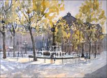 Palais Royal, Paris - Watercolour on paper © Jonathan Bray 2013