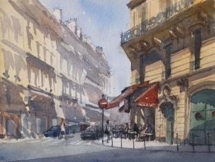 Café du Lycée Paris 9e - Watercolour on paper © Jonathan Bray 2015