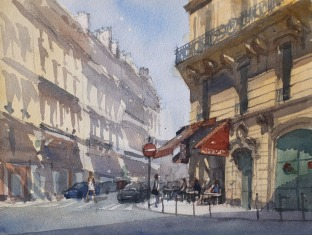 Café du Lycée Paris 9e - Watercolour on paper © Jonathan Bray 2015