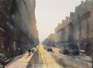 Paris Rue Maubeuge Sunrise - Watercolour on paper © Jonathan Bray 2015