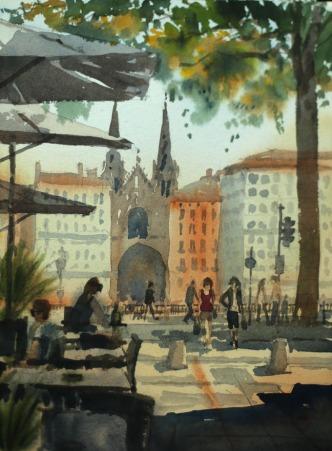 Place du Change towards Saint Nizier Lyons - Watercolour on paper © Jonathan Bray 2015