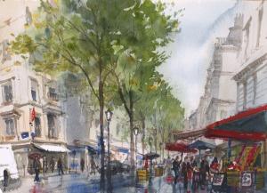 Rue de Martyrs Paris 9e - Watercolour on paper © Jonathan Bray 2015