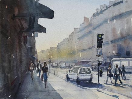Rue de Pepinere morning I - Watercolour on paper © Jonathan Bray 2015