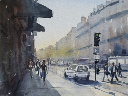 Rue de Pepinere morning I - Watercolour on paper © Jonathan Bray 2015