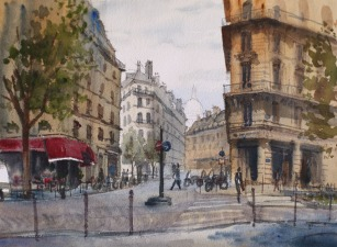 Rue Lallier et Avenue Trudaine Paris 9e - Watercolour on paper © Jonathan Bray 2015