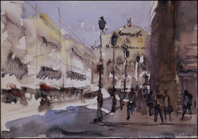 Avenue de l'Opéra (study I) - Watercolour on paper © Jonathan Bray 2015