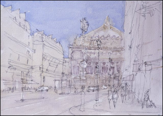 Avenue de l'Opéra - Watercolour on paper © Jonathan Bray 2015
