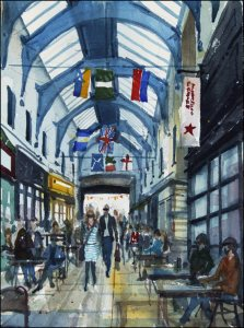 Brixton Village Market - Watercolour on paper © Jonathan Bray 2015