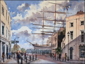 Cutty Sark and Gypsy Moth, Greenwich - Watercolour on paper © Jonathan Bray 2015