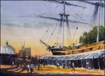Cutty Sark Sundown - Watercolour on paper © Jonathan Bray 2015