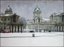 Greenwich London Royal Naval College Snow - Watercolour on paper © Jonathan Bray 2015