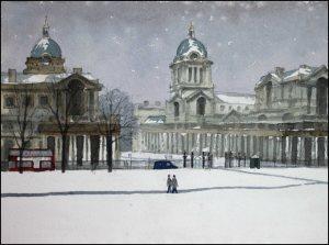 Greenwich London Royal Naval College Snow - Watercolour on paper © Jonathan Bray 2015