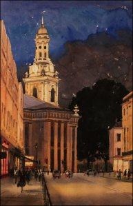 Greenwich, St Alfege at night - Watercolour on paper © Jonathan Bray 2015