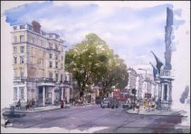 Gloucester Road, Kensington London - Watercolour on paper © Jonathan Bray 2015