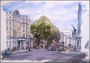Gloucester Road, Kensington London - Watercolour on paper © Jonathan Bray 2015