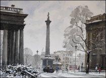 Alt Text is Trafalgar Square London Under Snow - Watercolour on paper © Jonathan Bray 2015