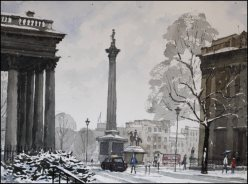 Alt Text is Trafalgar Square London Under Snow - Watercolour on paper © Jonathan Bray 2015