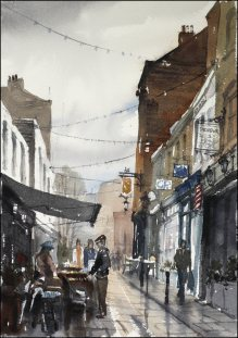 Watercolour painting on paper by Jonathan Bray of Rue de Maubeuge Paris https://jonathanbrayart.com/gallery-london/