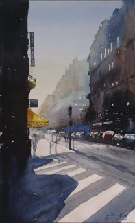 Watercolour painting on paper by Jonathan Bray of Rue de Maubeuge Paris https://jonathanbrayart.com/gallery-paris/