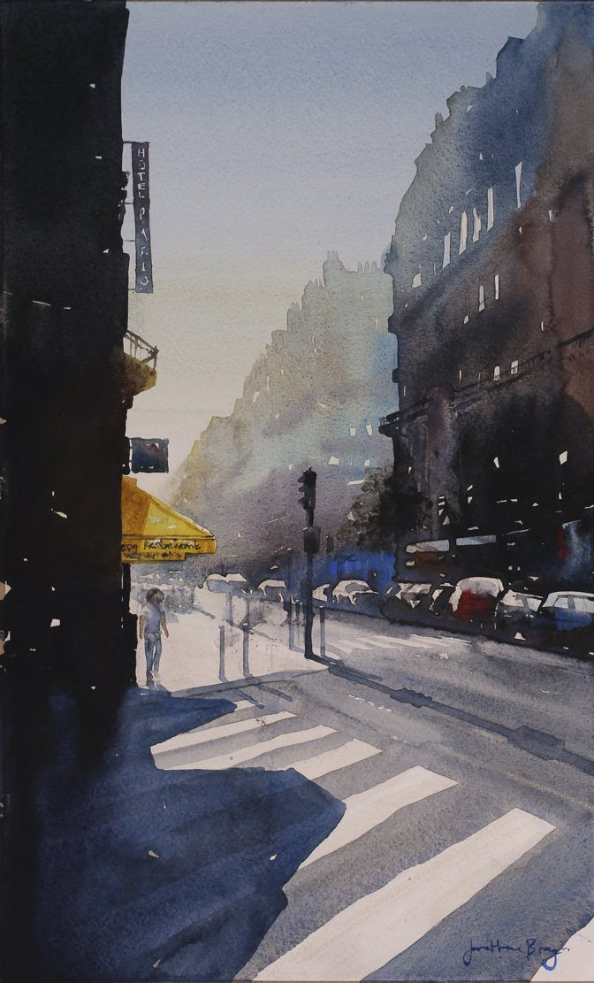 Watercolour painting on paper by Jonathan Bray of Rue de Maubeuge Paris