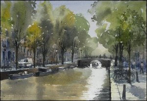 Watercolour painting on paper by Jonathan Bray of Herengracht, Amsterdam