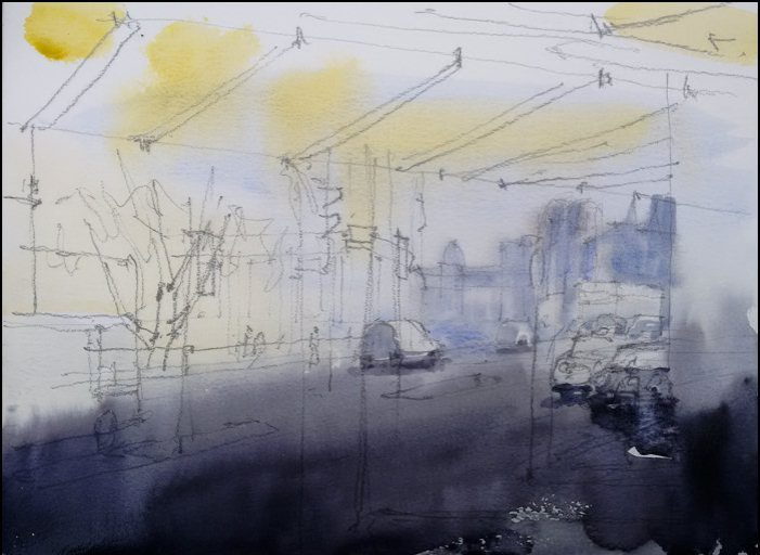Watercolour painting on paper by Jonathan Bray of Rue de Maubeuge Paris https://jonathanbrayart.com/gallery-london/