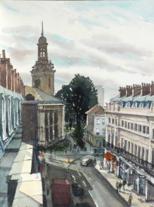 Watercolour of Nelson Road from the Rooftops