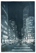 NYC 34th Street - Etching and aquatint by Jonathan Bray